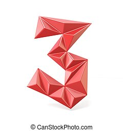 Red modern triangular font digit THREE 3 3D render...