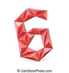 Red modern triangular font digit SIX 6 3D render...