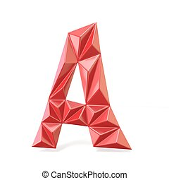 Red modern triangular font letter A. 3D render illustration...