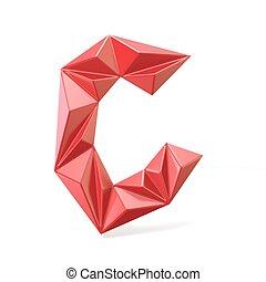 Red modern triangular font letter C. 3D render illustration...