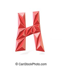 Red modern triangular font letter H. 3D render illustration...