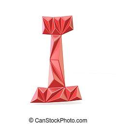 Red modern triangular font letter I. 3D render illustration...
