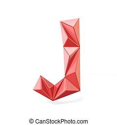 Red modern triangular font letter J. 3D render illustration...