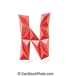 Red modern triangular font letter N. 3D render illustration...