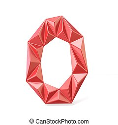 Red modern triangular font letter O. 3D render illustration...