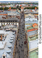 Top view on one of the streets in old center of Krakow,...