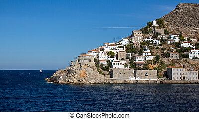 egeo, isola, idra, mare, capo, grecia, vista