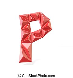 Red modern triangular font letter P. 3D render illustration...