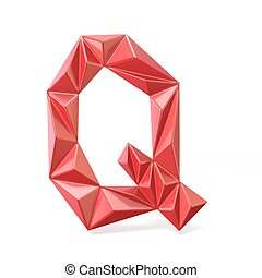 Red modern triangular font letter Q. 3D render illustration...