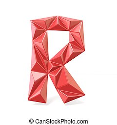 Red modern triangular font letter R. 3D render illustration...