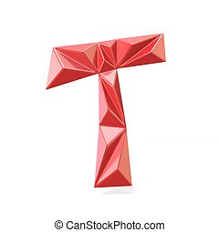 Red modern triangular font letter T. 3D render illustration...