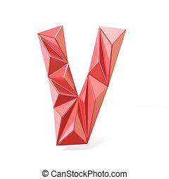 Red modern triangular font letter V. 3D render illustration...