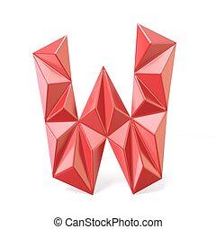 Red modern triangular font letter W. 3D render illustration...
