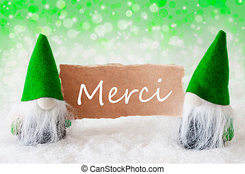 Green Natural Gnomes With Card, Merci Means Thank You -...