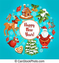 Happy New Year vector greeting poster