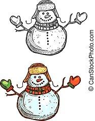 schets, Vrijstaand, sneeuwpop,  Vector, Kerstmis, pictogram
