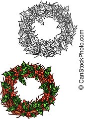 Christmas wreath of holly leaves isolated sketch - Christmas...