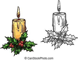 Christmas candle tree light on holly leaves sketch -...