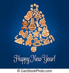 Happy New Year poster. Gingerbread jingle bell - Happy New...