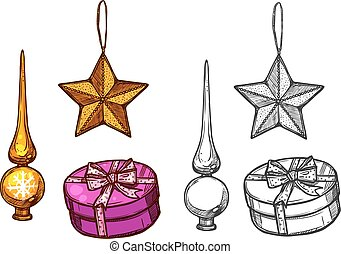 Christmas tree ornaments, gifts, vector sketch - Christmas...