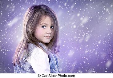little winter snow princess - pretty little girl as fantasy...