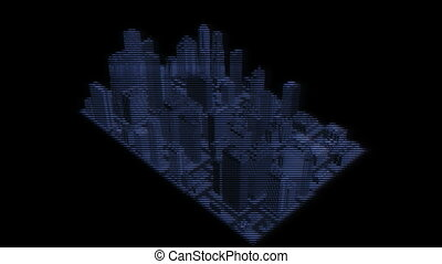 Futuristic City Hologram - Cybernetic City Hologram Turnover...