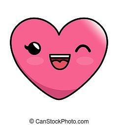 Emoticon, Coração, estilo,  kawaii, ícone