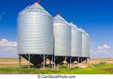 Grain Silos - Steel grain silos used to store grain