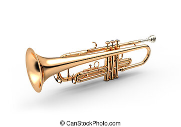 Trumpet classical instrument isolated on white 3D illustration