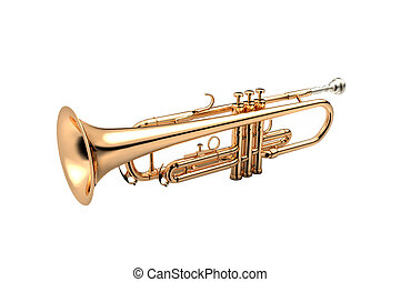 Trumpet classical instrument isolated on white 3D...