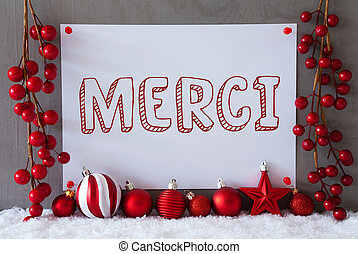 Label, Snow, Christmas Balls, Merci Means Thank You - Label...