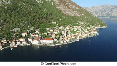 Aerial view of St. Nicholas Church in Perast, Montenegro