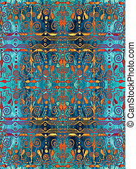 Ethnic seamless pattern. Boho turquoise and gold ornament....