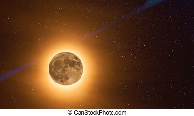Moon With Halo - Animation of orange moon with halo moving...