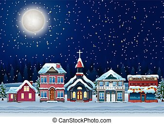 Fabulous snow covered town in the Christmas night - Vector...