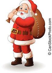 Santa Claus carrying big bag - Vector illustration of Santa...