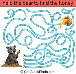Help the honey bear to find honey - Vector illustration of...