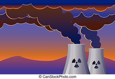 Nuclear plant with smoke vector - Vector illustration of two...