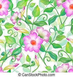 Watercolor spring floral garden seamless pattern. Pink...