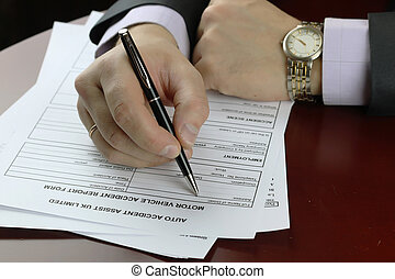 hand signature form car accident - male hand in a business...