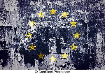 Grunge of EU Flag