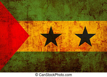 Grunge flag of Sao Tome and Principe on vintage paper