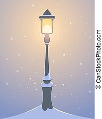 Retro Street Lamp - Retro street lamp covered with snow,...