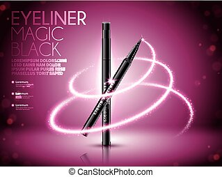 Eyeliner pen ads, glittering effects with bokeh background,...