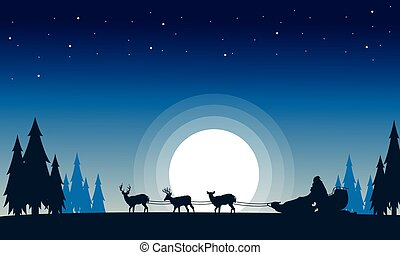 Train santa with reindeer landscape of silhouettes