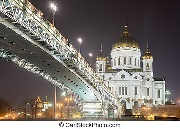 The Cathedral of Christ the Savior at night, Moscow, Russia.