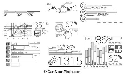 Infographic Elements In The Line Style - Collection of...
