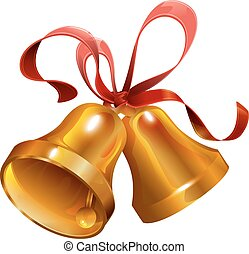 Two gold Christmas jingle bell with red ribbon. Isolated on...