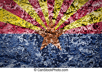 Arizona State Flag painted on grunge wall