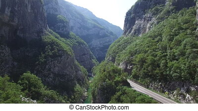 Aerial view of Moraca river canyon. Montenegro.